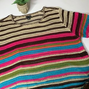 New Directions Striped Short Sleeve Sweater 2X